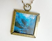 Cerulean Blue Photography Necklace Antiqued Brass Original Photography Art Pendant Necklace With Silver Ball Chain Art Pendant