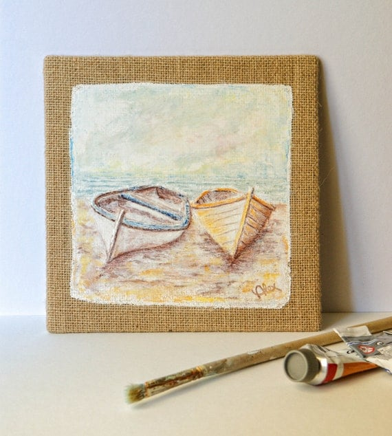 RESERVED FOR VICKI - Boats Painting On Canvas, Palette Knife Oil / Acrylic On Natural Canvas, Small Canvas Art, Palette Knife Painting