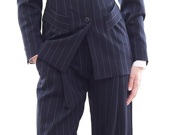 Man style navy blue stripe wool and viscose blend pants suit