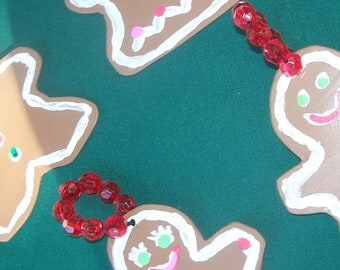 Gingerbread Christmas Tree Ornaments Recycled Record Decorations Holiday Decor XMAS Decorations Cookie Shapes