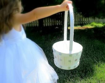 CLEARANCE - Flower Girl Basket - Wedding Flower Girl Basket  - White Iridescent Flower Girl Basket - Winter Wedding Flower Girl Basket