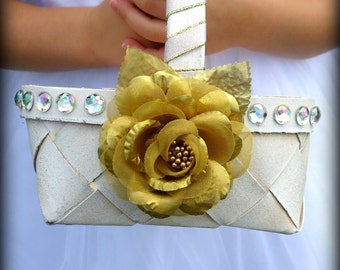 Flower Girl Basket - Gold and Ivory Flower Girl Basket - Antiqued Flower Girl Basket - Shimmery Ivory and Gold Flower Girl Basket