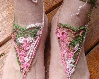 Sandals, Barefoot Sandals, Women or Girls Pink Camo Crochet Barefoot Sandals Style 77
