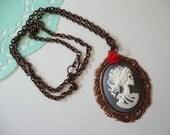 Grey and Copper Lolita cameo necklace