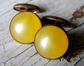 Antique Vintage Art Deco Cuff Links Cufflinks, Yellow Luminescent Cabochons and Brass