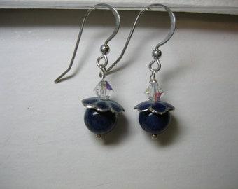 Swarovski crystal and lapis lazuli beaded Sterling silver earrings
