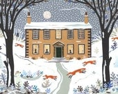 Bronte Sisters Print, Haworth Parsonage, Writers' Houses, Christmas Scene, Naive Art, Folk Collage, Winter, Snow Scene, Gift for Booklovers