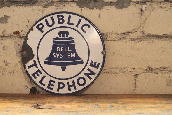 Vintage Porcelain Bell Telephone Sign