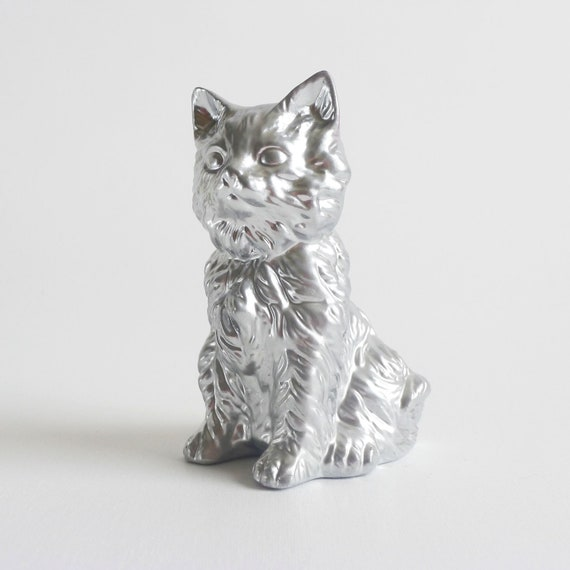 Silver Kitty Cat Metallic Chrome Upcycled Ornament by Trash Things Kitsch Home Decor Fabulous Gift