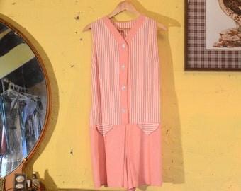 60s Pink Candy Stripe Indie Romper Spring Jumper S - M