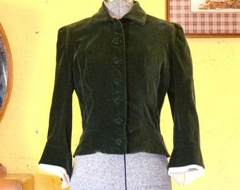 60s Wood Elf Green Velvet Fitted Jacket Pointed Sleeves S