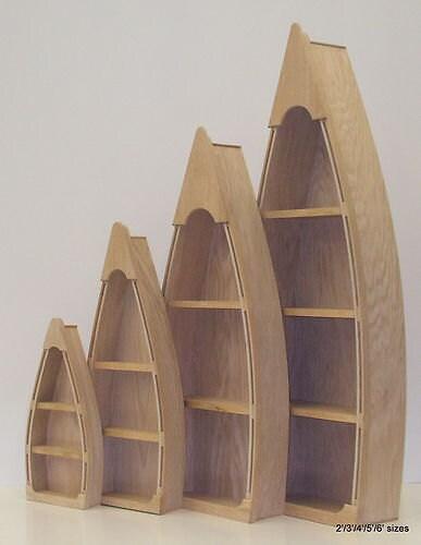 5 Foot Row Boat Bookcase Custom Handmade Wood Boat