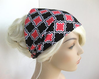 Black Pink White Abstract Yoga Headband Bandana Headband Womens Headband Fabric Headband Wide Headband Womens Gift for Her, Gift ideas