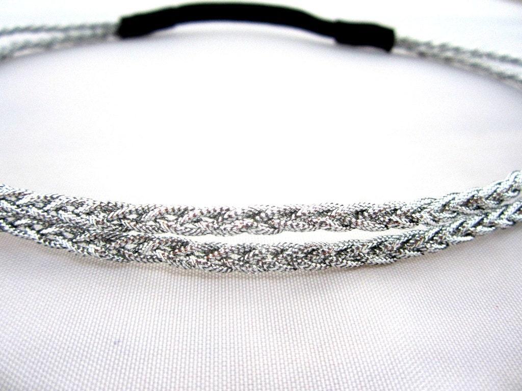 Double Braided Metallic Silver Headband Greek Goddess Hair