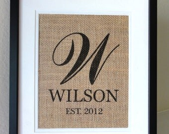 Personalized Burlap MONOGRAM, Last  Name and Est. Date, Gift for Weddings, Engagements, Showers, Announcement