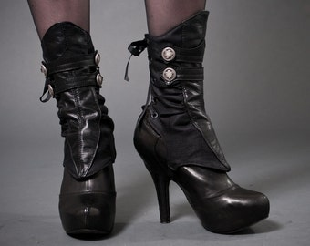 Spats - Black leather and herringbone with buttons- Nyx-