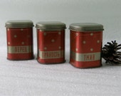 3 Soviet tin boxes- vintage polka dot storage canisters for home / kitchen decor. Russian USSR 1970's. Pepper, Caraway seed, Seasoning