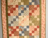 Old Fashioned Floral Quilt, Wall Hanging, Lap Quilt, Throw Blanket