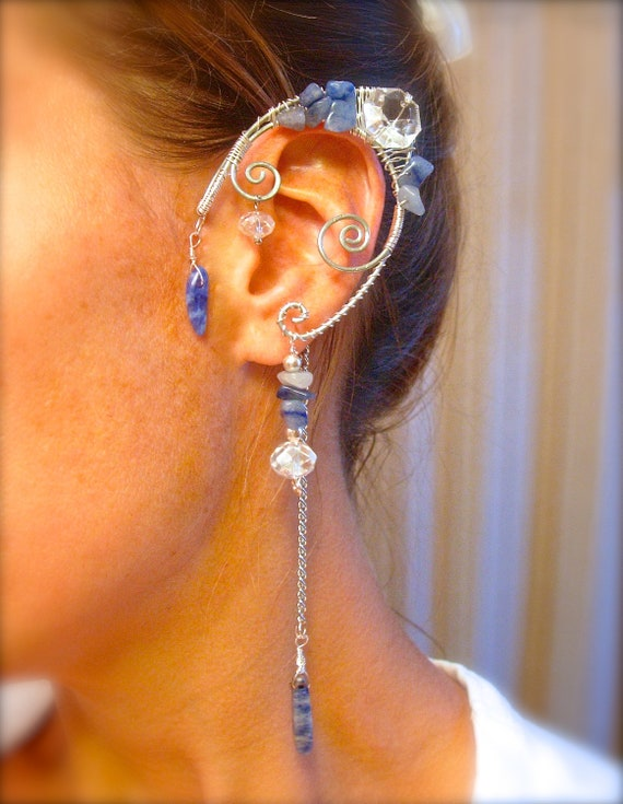 Pair of Faerie Ears, Blue Aventurine, Sodalite and Silver Elf Ear Cuffs, non pierced earring, Fairy, Renaissance, Elven