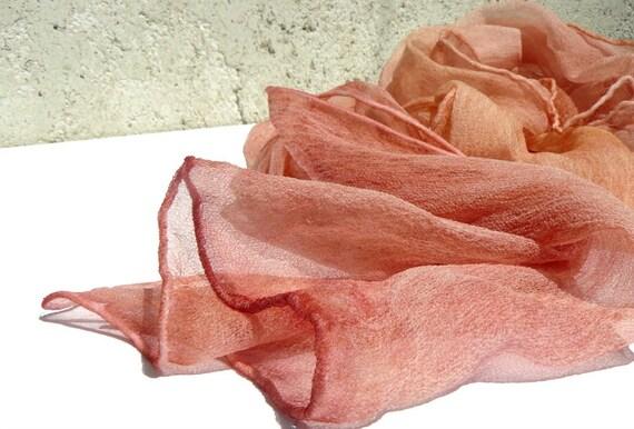Salmon silk scarf - chiffon scarf
