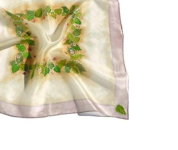 Yummy raspberrys silk scarf Hand painted fruit silk scarf, rose smoke, green