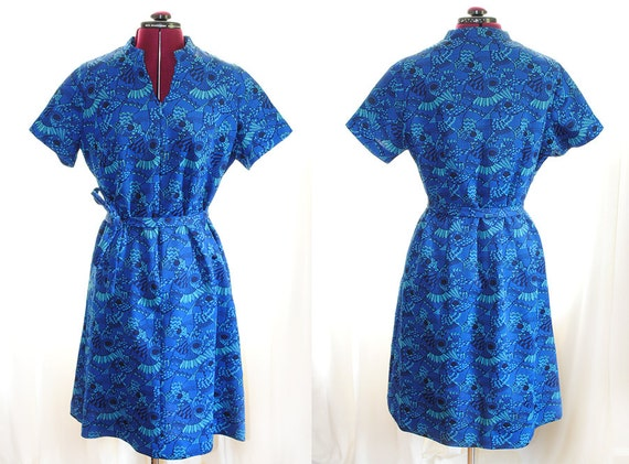 Psychedelic Blue Dress from the 1960s Large XL