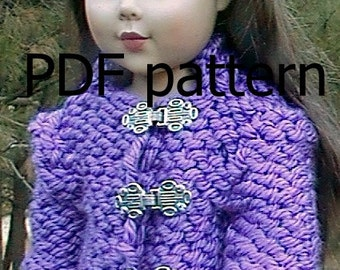 """032 Knit Pattern for 18"""" doll-long sleeve QUIK knit coat"""