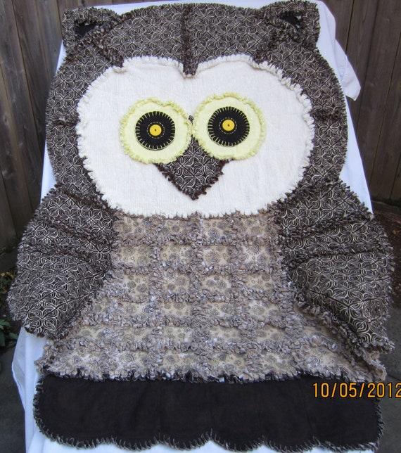 Rag Quilt Animal Patterns : OWL RAG QUILT African Print Handmade Childs Blanket Cute