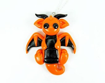 Kawaii Orange Halloween Dragon Necklace Polymer Clay