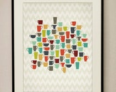 Retro Kitchen Coffee Cups 11x14 Art Print