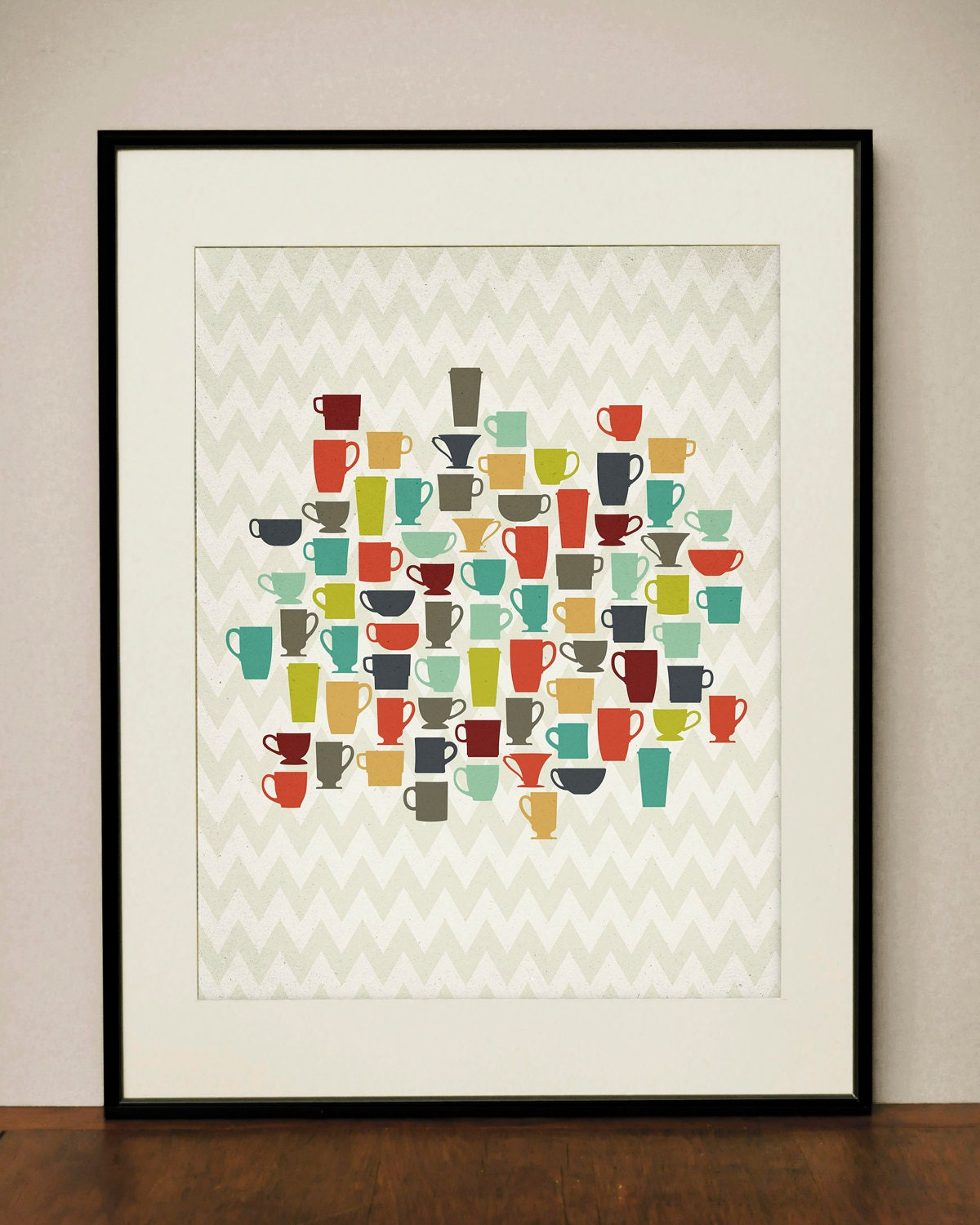 Retro Kitchen Wall Decor: Retro Kitchen Coffee Cups 11x14 Art Print By ProjectType On Etsy