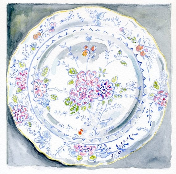 Still Life Kitchen Decor of Original Watercolor Painting -- Floral Vintage Plate