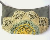 Purse, Dark gray - green with outdoor decorations crochet flowers in gold, green and yellow.