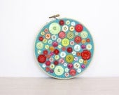 Embroidery Hoop Art, Upcycled Textile And Vintage Button Art, Tropical Punch Cake, Red, Yellow, Orange, Turquoise Folk Art, Button Decor