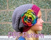 PATTERN:  3 in 1 hat pattern, Kids' Slouch Hat-  Unisex slouchy beanie, easy crochet P D F, InStAnT DoWnLoAd, Permisson to Sell