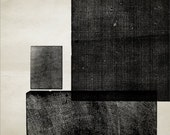 "Geometry Studies Printed Wooden Shapes Black and Antiqued Paper High-Quality, Archival 8"" x 10"" Print: Rectangles"