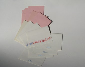 Stationery - Sweet Heart Notes - Vintage Montag - 1980's feel - 8 cards - Music Notes - Hearts - Pink Envelopes