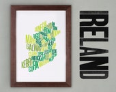 Ireland Font Map. Limited Edition Digital Print, 297x420mm