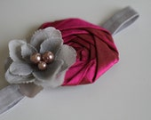 Hot pink rosette with a gray flower on gray elastic headband