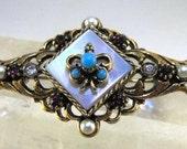 Vintage Brooch Signed ART Fleur De Lis Turquoise Mother Of Pearl