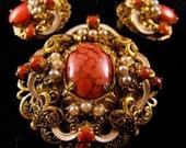 Superb Baroque Coral Rhinestone Set Brooch Earrings Demi Parure Sale 50.00