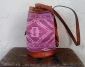 1970s Vintage aztec Indian leather bucket bag