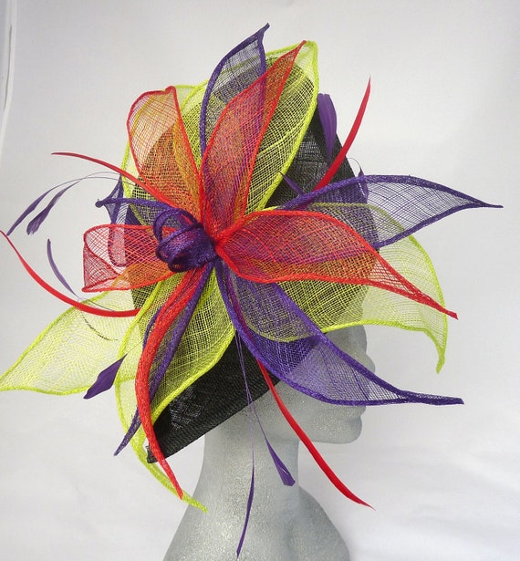 Black Hannah Fascinator Headpiece with Red, Lime and Purple Leaves perfect for a Wedding, Kentucky Derby, Ascot Races