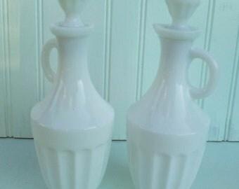 Vintage White Milk Glass Vinegar and Oil Cruet Set