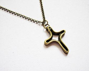 Cross Necklace, Brass Cross Necklace, Cross Charm, Cross Pendant Necklace, skeleton cross, open design cross necklace, cross jewelry, short