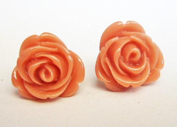 peach rose earrings, flower earrings, rose stud earrings, peach earrings, flower cabochon earrings, small post earrings, rose earrings