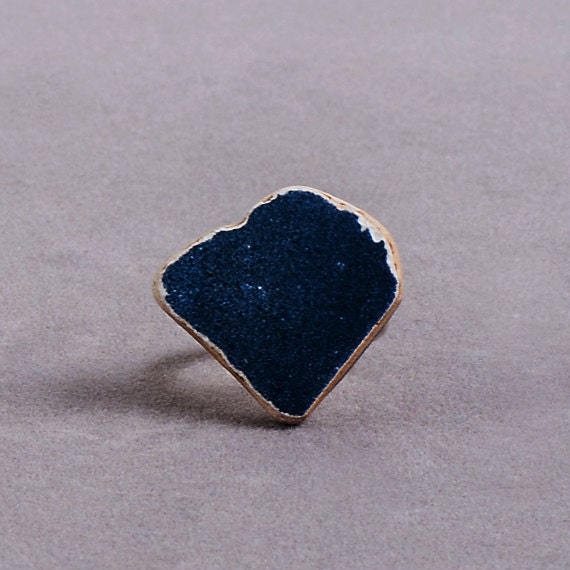 Blue Leaf // One Off Rings collection // Construction Waste // ceramic stone // silver ring // for her