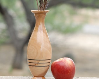 "Bud Vase of Reclaimed Apple Wood 8 1/2"" tall & 2 3/4"" diameter"