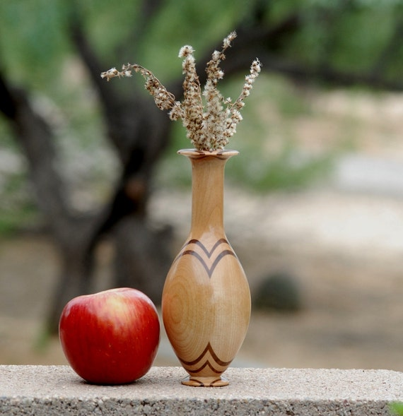 "Bud Vase of Mahogany with Walnut Accents - 7"" tall & 3"" diameter"