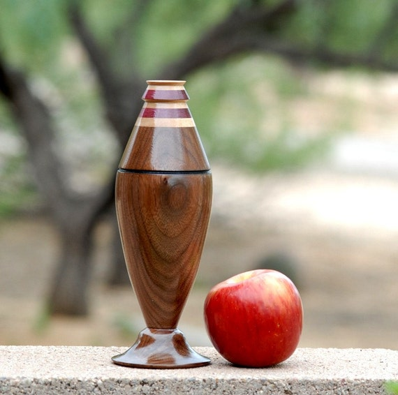 "Bud Vase of Walnut, Maple and Padauk Woods - 8 1/2"" tall & 3"" diameter"
